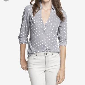Express Portofino Gray Polka Dot Button Up Shirt